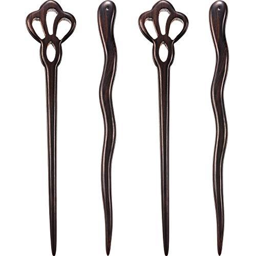Chuangdi 4 Pieces Wood Hair Sticks Japanese Hair Chopsticks for Buns Hair Pins for Women Long Hair Chignon Maker Handmade (Style B) (Style C)