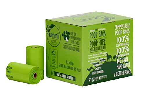 (UNNI 100% Compostable Dog Poop Bags, Extra Thick Pet Waste Bags, 270 Count, 18 Refill Rolls, 9x13 Inches, Earth Friendly Highest ASTM D6400, US BPI and Europe OK Compost Home Certified, San Francisco)