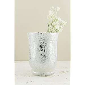 "Frosted Mercury Glass Hurricane Vase& Candleholder 6"" - Excellent Home Decor - Outdoor Indoor 65"