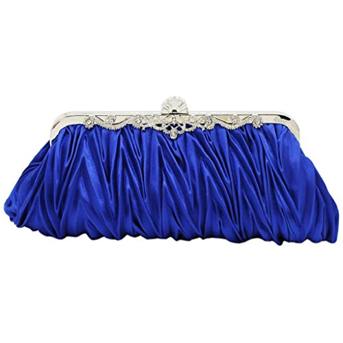 Cocktail PRIAMS Bag Handbag Pleated Wedding Party Evening Satin Clutch Blue Women's Vintage 7 rAqwrY8