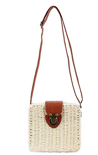 Straw Top Satchels Tote B Bags white Handle Beach Molodo Summer Handbags Crossbody Shoulder Purse fwqxpR5A