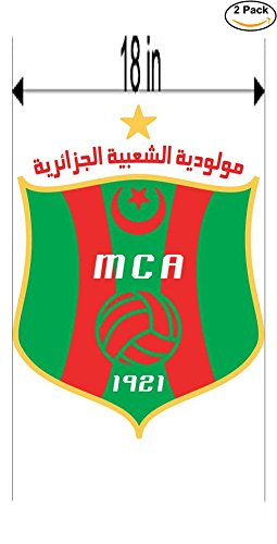 fan products of Mouloudia Club Alger MCA Algeria Soccer Football Club FC 2 Stickers Car Bumper Window Sticker Decal Huge 18 inches