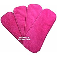 SOFTSPUN Microfiber 4 Layer Baby Diaper Inserts for Cloth Diaper, Pocket Diaper Set of 4, Small, Age 0-3 Months, Pink