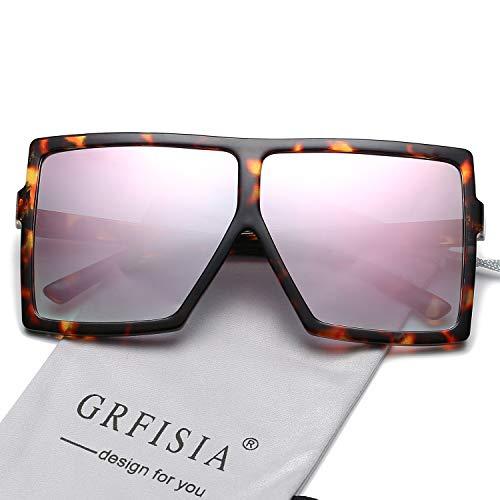 (GRFISIA Square Oversized Sunglasses for Women Men Flat Top Fashion Shades (Leopard Frame- Pink Mirror, 2.56))