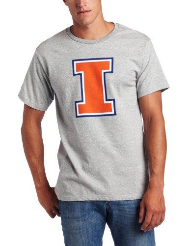 (NCAA Men's Illinois Fighting Illini Full Blitz Short Sleeve Basic Tee (Steel Heather, Medium))