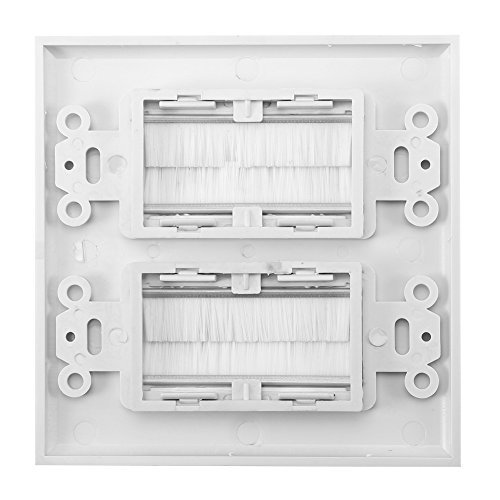 Yosoo Anti-Dust Brushplate Cable Wall Plate Port White Brush Strip Wallplate Insert Outlet Cable Faceplate Mount Multimedia Panel (Double Gang) ()