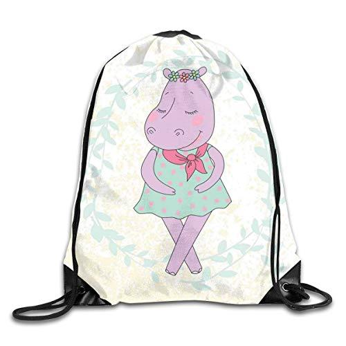 Unisex Drawstring Bag Gym Bags Storage Backpack,Hippie Animal Hippopotamus Girl With Dotted Dress On Grungy Flower Wreath Background (Sofa Hippopotamus)