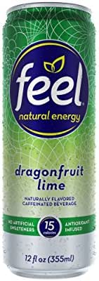 Natural Energy Drink, Low Calorie, Vegan, Gluten Free, Non-GMO, FEEL Healthy Energy Drink for Energy & Focus, Dragonfruit Lime, 12 Fl Oz Cans (Pack of 12)
