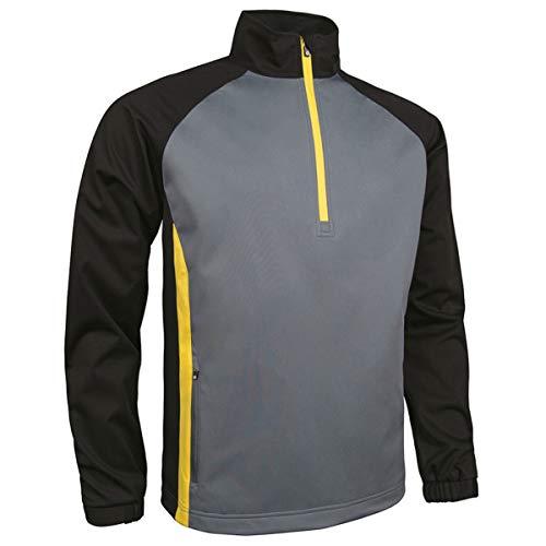 Sunderland Mens SUNMW37 Raglan Panelled Zip Neck Showerproof Golf Windshirt Gunmetal/Black/Energy Yellow L