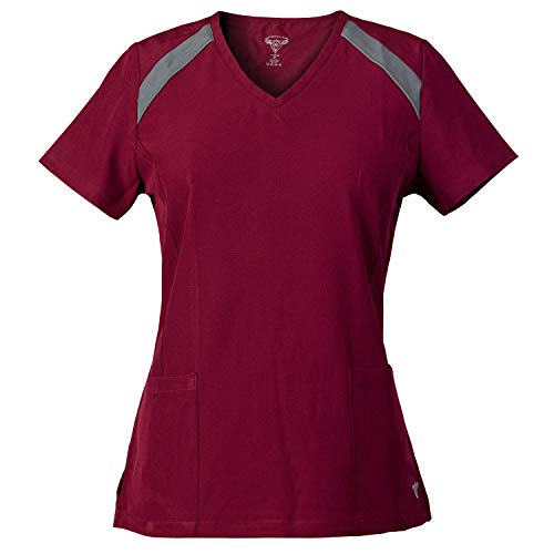 MG Superflex Activewear Stretch Scrub Top with Reflective Piping Detail