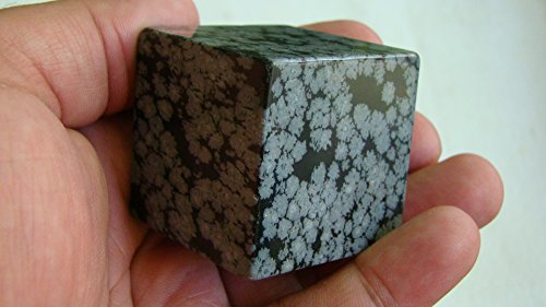 Ham3704 Snowflake Obsidian Cube Hexahedron 40 mm