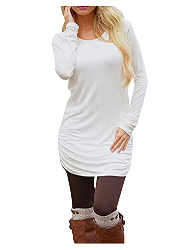 AuntTaylor Teen Girls Chic Round Neck Ruched Side Extra Long Shirts White M (White Dress For Teenager)
