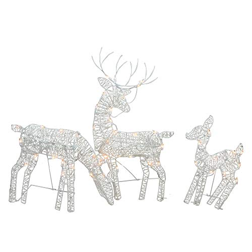 Lighted Reindeer - Northlight Set of 3 White Glittered Doe, Fawn and Reindeer Lighted Christmas Outdoor Decoration