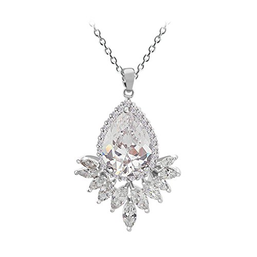 Beydodo White Gold Plating Necklaces for Women(Pendant Necklace), Marquise Teardrop CZ Oval Link White