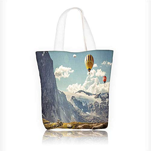 (Women's Canvas Tote Handbags A hot air balloon over the canyon Casual Top Handle Bag Crossbody Shoulder Bag Purse W16.5xH14xD7 INCH)