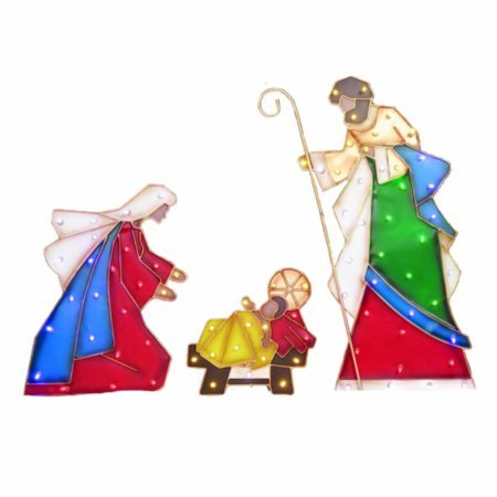 Outdoor Nativity Set Christmas Lighted Yard Decoration Holy Family Garden Patio by Holiday Time