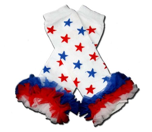 Little Girls /& ONE SIZE by BubuBibi PATRIOTIC RED WHITE /& BLUE STARS RUFFLES Baby Sweet Leggings//Leggies//Leg Warmers for Cloth Diapers