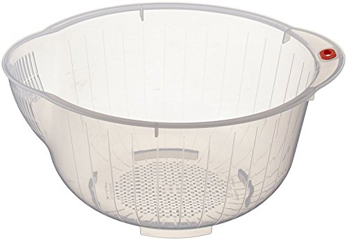 Inomata Japanese Rice Washing Bowl with Side and Bottom Drainers, Clear 2 ()