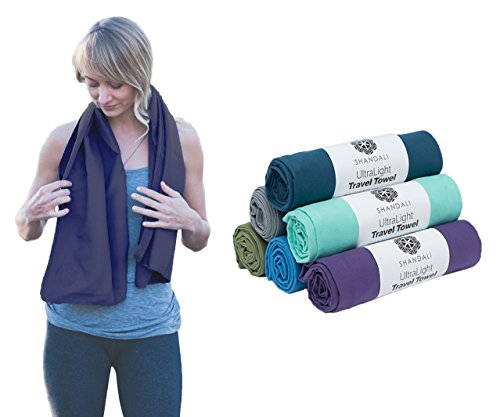 Microfiber Travel & Sports Towel. Absorbent, Fast Drying & Compact. Great for Yoga, Gym, Camping, Kitchen, Golf, Beach, Fitness, Pool, Workout, Sport, Dish or Bath.! River Blue Medium