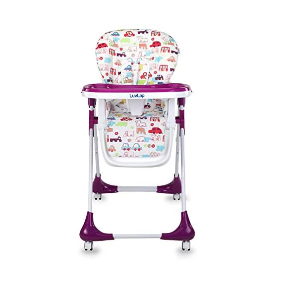 Luvlap Royal Highchair with 7 Height Levels, 3 Position Seat Recline and Wheels, Purple
