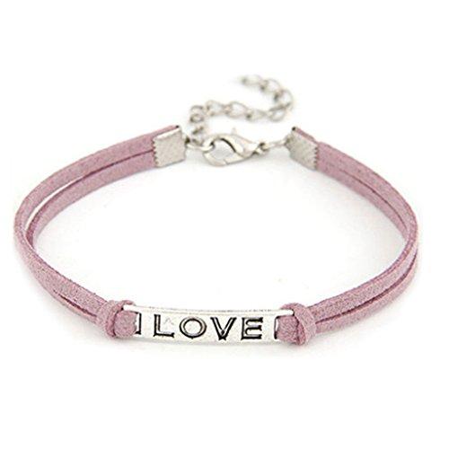 Fashion Korean Hand Made Womens Girls Vintage Love Alloy Bangles Braided Rope Wristband Leather Bracelet Adjustable Purple