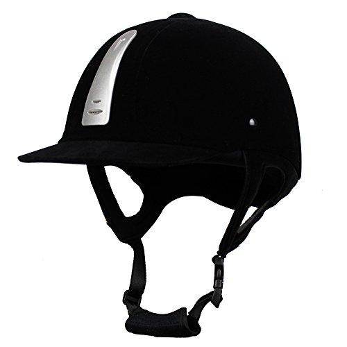 UNISTRENGH Equestrian Hat Helmet Velvet Comfy Horse Riding Hats Breathable Horse Riding Helmets (Black 02, 22.44-23.62inch (57-60cm))]()