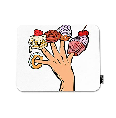 Mugod Sweets Cake Mouse Pad Cupcake Donut Marshmallow on Fingers Chocolate Dessert Gaming Mouse Mat Non-Slip Rubber Base Mousepad for Computer Laptop PC Desk Office&Home Working 9.5x7.9 Inch