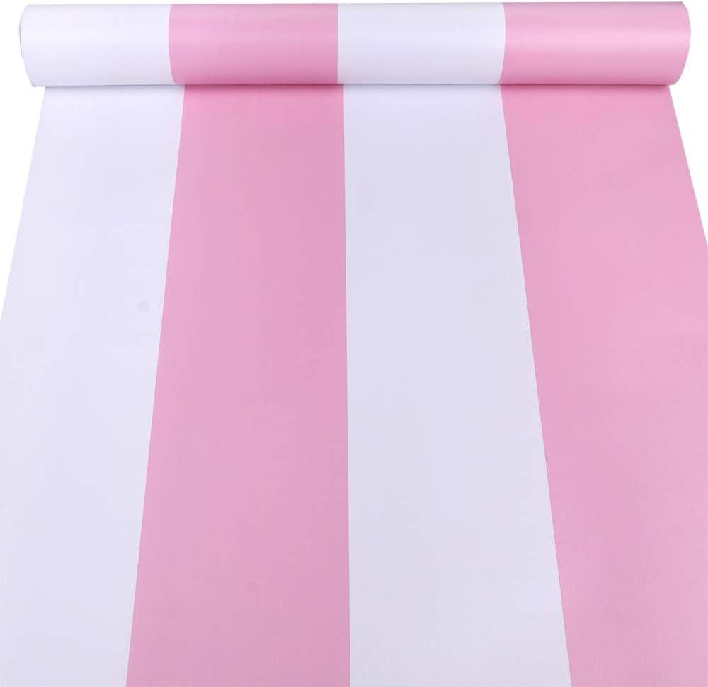 LovingWay Two-Tone Drawer Liner 17.7x177 Inch Self-Adhesive Corner Shelving Paper Multi Use Furniture PVC Protector Pink White Stripes