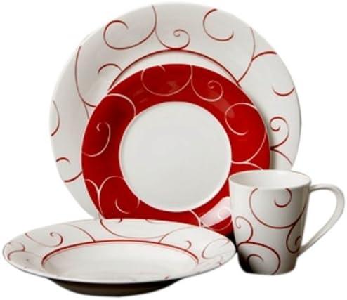 Red Super sale period limited 5 popular Vanilla FP012-116 16-Piece Rouge Dinner Set Panache