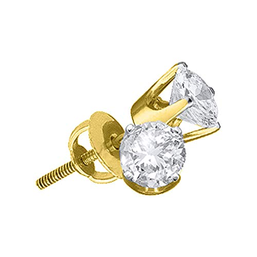 Jewels By Lux 14kt Yellow Gold Unisex Round Diamond Solitaire Stud Earrings 1/20 Cttw In 4 Prong Setting (I2 clarity; I-J color) ()