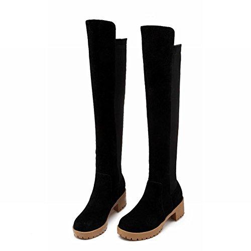 Schouder Damesmode Assorti Kleuren Warm Comfort Casual Mid-hiel Boven De Knie Hoge Laarzen Zwart