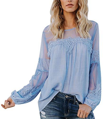 (Jubarty Us Women's Elegant Lace Blouse Lantern Sleeve Hemp Top with Keyhole Back Blue S)