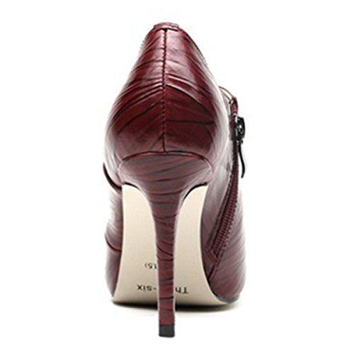 Frauen Elegante Spitze Zehen Plateau Pumps Slip Auf High Heels Für Hochzeit Büro Stiletto Schuhe WineRed