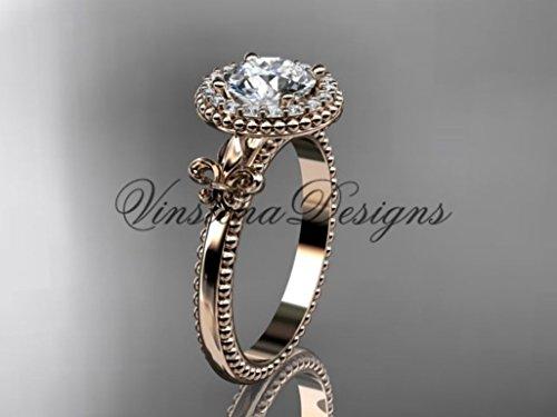 14kt rose gold diamond Fleur de Lis engagement ring VD10063