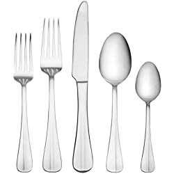 International Silver 5027191 Simplicity 53-Piece Stainless Steel Flatware Set with Serving Utensil Set, Service for 8