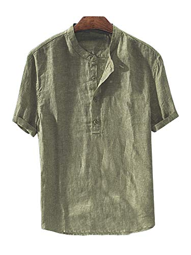 Mens Linen Henley Shirt Casual Short Sleeve T Shirt Pullovers Tees Retro Frog Button Cotton Shirts Beach Tops (Medium, E-Army Green)