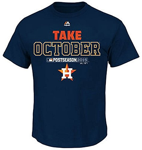 Majestic Houston Astros Mens 2015 Playoff Authentic Collection Take October T Shirt Navy Big & Tall Sizes (3XL)
