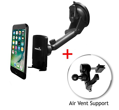Widras Windshield / Air Vent 2in1 Magnetic Car Mount Universal Phone Holder Window Cradle for Smartphone / Tablet Washable Strong Pad iPhone X 8 7 7+ 6 6s 5 5s Plus Galaxy S8 S7 S6 S5 Edge Note Nexus (Window Vents For Cars)