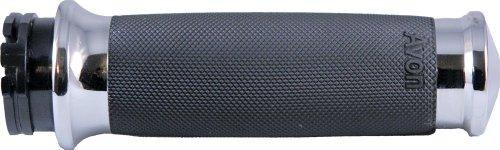 Avon Grips Custom Contour Heated Grips - Chrome , Color: Black CC-85-CH-FLY-HT ()