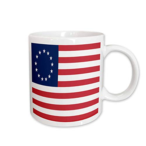 3dRose 13 Colonies Betsy Ross Flag Ceramic Mug, 15-Ounce