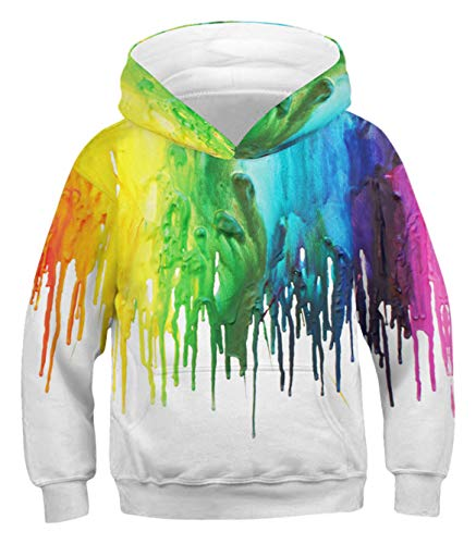 PIZOFF Paint Splatter Hoodie for Boy 3D Print Colorful Splash Pullover Hoodie Sweatshirts Pocket for 3-14T