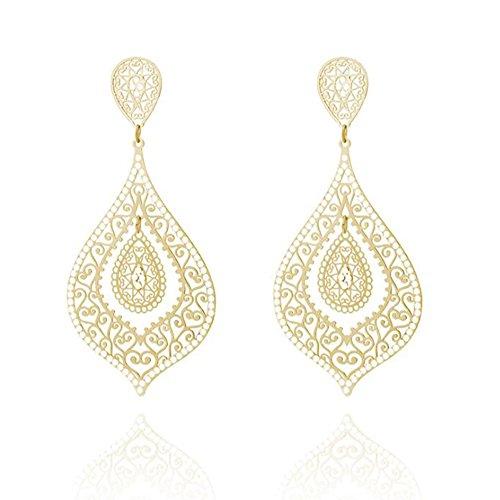 Alloy Cubic Zirconia Inlaid Hollow Cutout Filigree Teardrop Design Dangle Hook Earrings for Women, Golden
