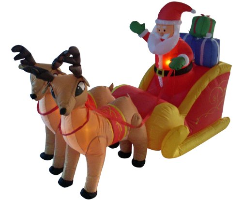 Santa Claus And Reindeer Decoration - 6 Foot Long Christmas Inflatable Santa Claus on Sleigh with Reindeer Decoration