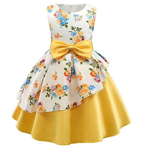 NSSMWTTC Flowers Girls Summer Dresses Kids Christmas Toddler Floral Printed Party Dress Size 3T(Yellow01,100)