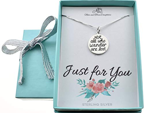 - Not All Who Wander Are Lost Charm necklace in sterling silver on an 18 inch sterling silver Box chain with 2