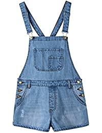 Women's Classic Ripped Distressed Blue Denim Shortalls Jeans Overalls Shorts