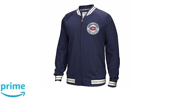 Amazon.com   CCM Montreal Canadiens NHL Navy Blue Full Zip Premium  Throwback Retro Track Jacket Men   Sports   Outdoors d4be41d13