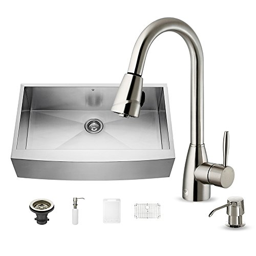 VIGO 36 inch Farmhouse Apron Single Bowl 16 Gauge Stainless Steel Kitchen Sink with Avondale Stainless Steel Faucet, Grid, Strainer and Soap Dispenser