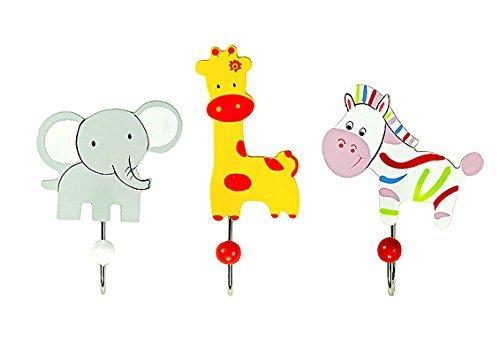 Set of Three Safari Animal Themed Single Wooden Coat Hooks Wall Hooks Elephant Giraffe & Zebra ideal for Boys or Girls Nursery or Bedroom