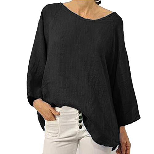 - FEDULK Womens Plus Size Shirt Crew Neck Long Sleeve Summer Solid Loose Casual Blouse Tunic Tops(Black, XXXX-Large)